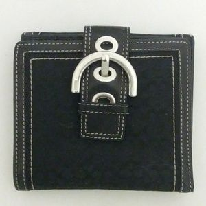 Coach Black Trifold Wallet Coin Silver Hardware